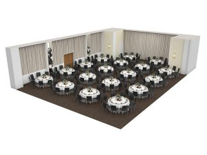 The Madison Room in banquet orientation